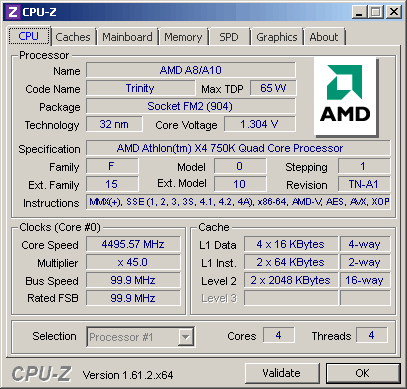 CPU-Z Overclocked to 4.5 MHz