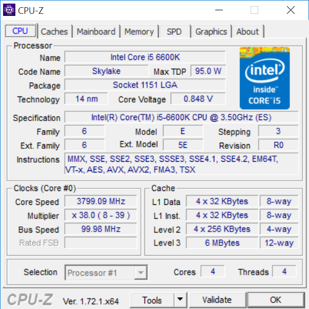 Intel Core i5-6600K (Skylake) CPU-Z