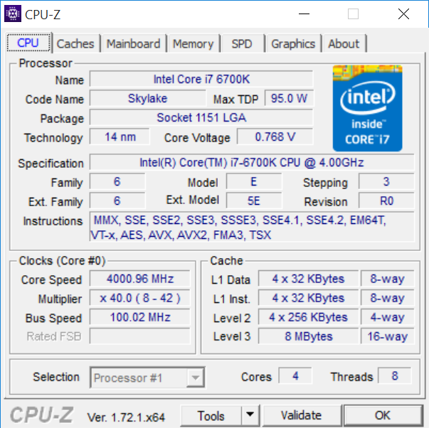 Intel Core i7-6700K (Skylake) CPU-Z
