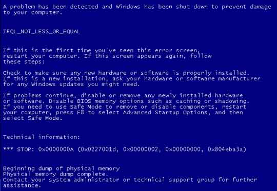 blue screen